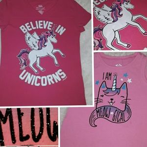 2 FOR 1 JUSTICE PINK SPARKLE UNICORN KITTY T SHIRT